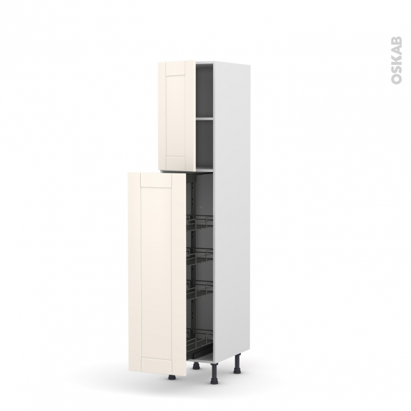 colonne de cuisine n 26 armoire de rangement filipen ivoire 4 paniers plateaux l40 x h195 x p58. Black Bedroom Furniture Sets. Home Design Ideas