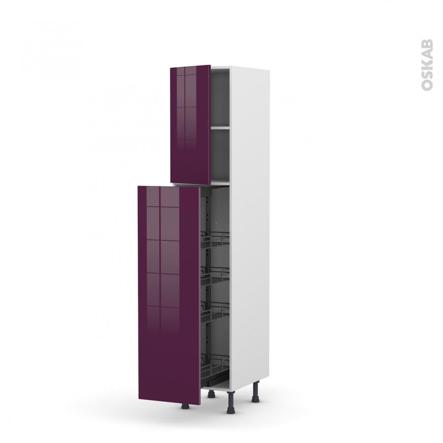 colonne de cuisine n 1926 armoire de rangement keria aubergine 4 paniers plateaux l40 x h195 x. Black Bedroom Furniture Sets. Home Design Ideas