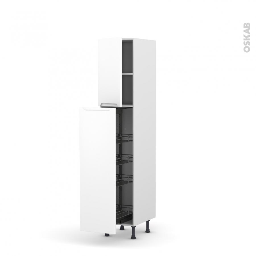 colonne de cuisine n 26 armoire de rangement pima blanc 4 paniers plateaux l40 x h195 x p58 cm. Black Bedroom Furniture Sets. Home Design Ideas