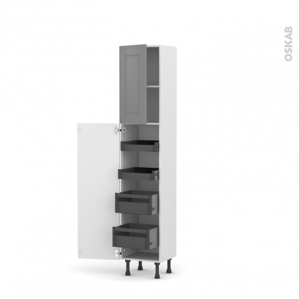 Colonne de cuisine n 1926 armoire de rangement filipen gris 4 tiroirs l 39 anglaise l40 x h195 x - Armoire de rangement cuisine ...