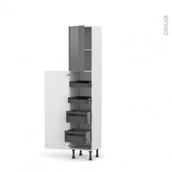 Colonne de cuisine n 1926 armoire de rangement stecia gris for Colonne de rangement a tiroirs