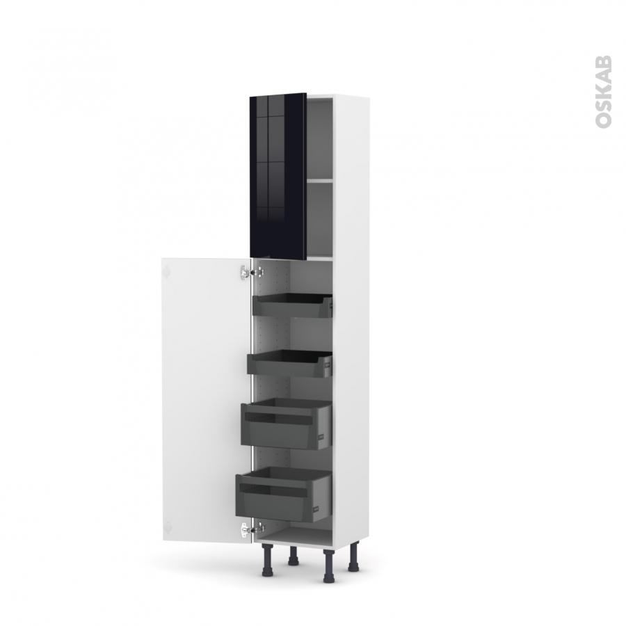 colonne de cuisine n 1926 armoire de rangement keria noir. Black Bedroom Furniture Sets. Home Design Ideas