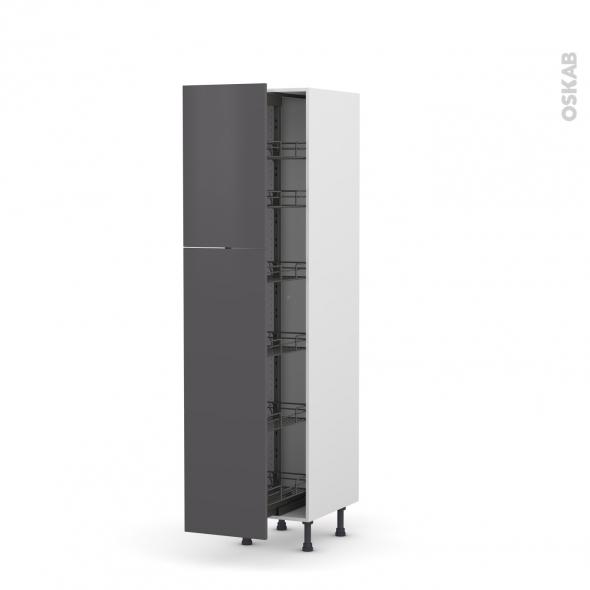 colonne de cuisine n 2619 armoire de rangement ginko gris 6 paniers plateaux l40 x h195 x p58 cm. Black Bedroom Furniture Sets. Home Design Ideas