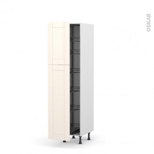 colonne de cuisine n 2619 armoire de rangement filipen ivoire 6 paniers plateaux l40 x h195 x. Black Bedroom Furniture Sets. Home Design Ideas