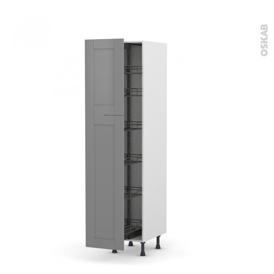 colonne de cuisine n 2619 armoire de rangement filipen gris 6 paniers plateaux l40 x h195 x p58. Black Bedroom Furniture Sets. Home Design Ideas