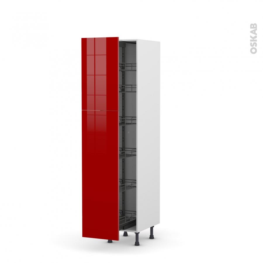 Colonne de cuisine n 2619 armoire de rangement stecia rouge 6 paniers plateaux l40 x h195 x p58 for Colonne cuisine 40 cm