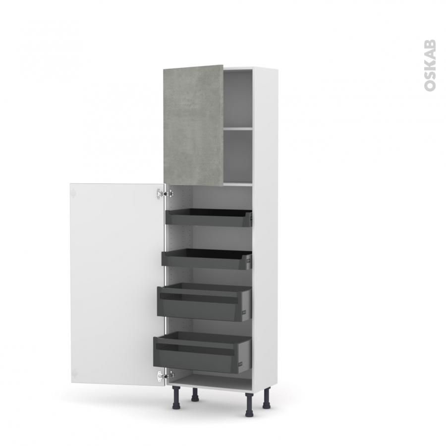 colonne de cuisine n 2127 armoire de rangement fakto b ton 4 tiroirs l 39 anglaise l60 x h195 x. Black Bedroom Furniture Sets. Home Design Ideas
