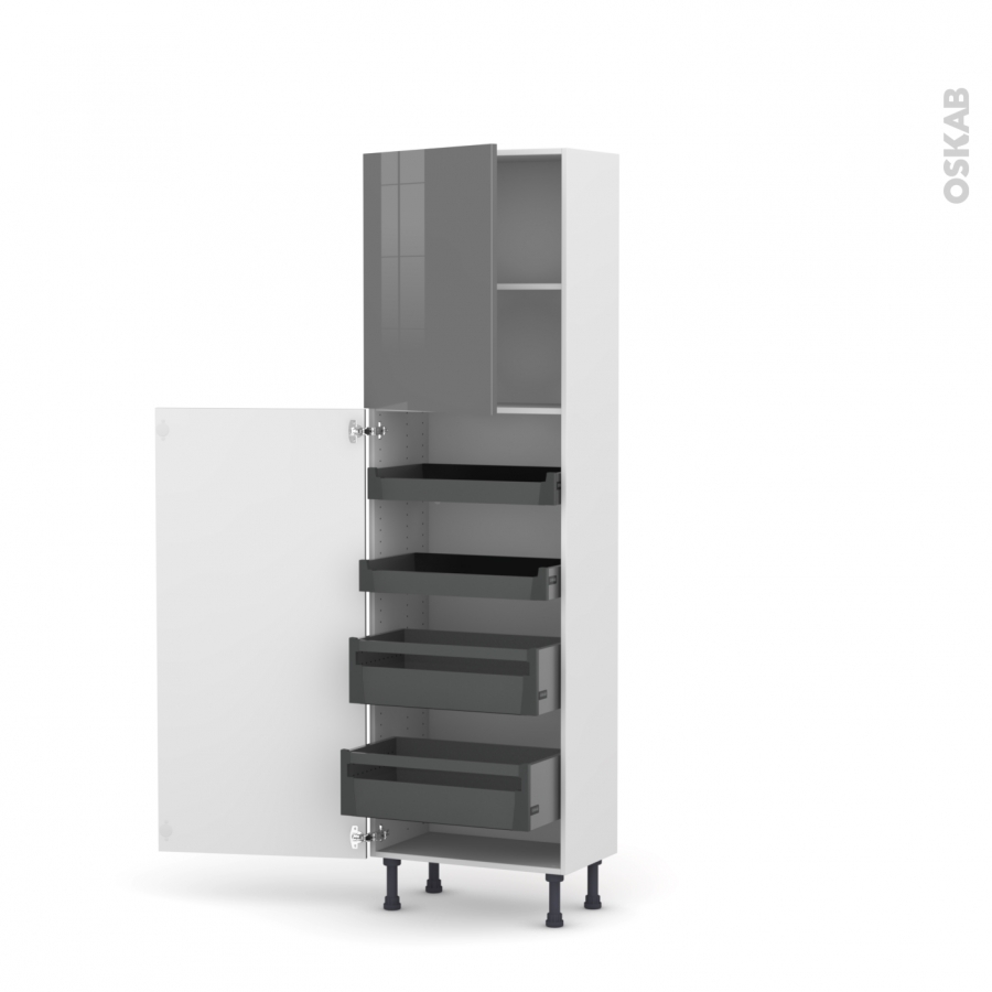 Colonne de cuisine n 2127 armoire de rangement stecia gris for Armoire colonne cuisine