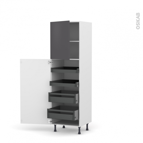 Colonne de cuisine n 2127 armoire de rangement ginko gris 4 tiroirs l 39 anglaise l60 x h195 x - Armoire de rangement cuisine ...