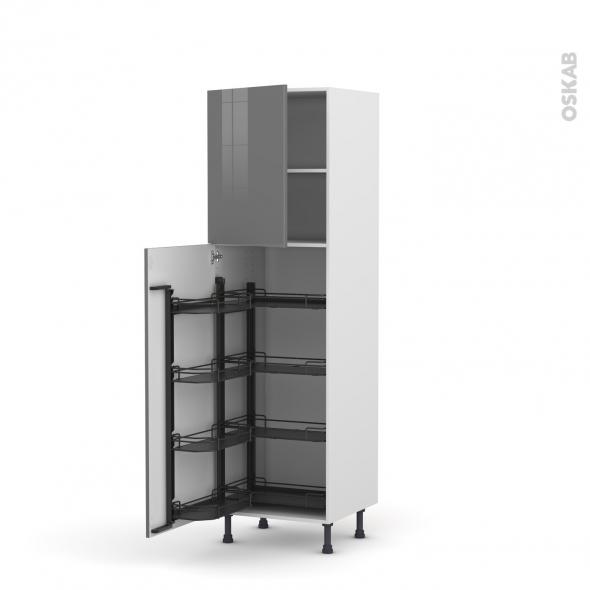 colonne de cuisine n 2127 armoire de rangement stecia gris 8 paniers plateaux l60 x h195 x p58. Black Bedroom Furniture Sets. Home Design Ideas