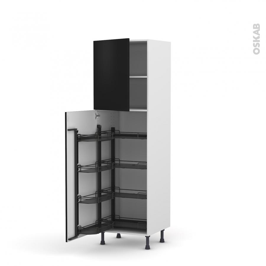 colonne de cuisine n 2127 armoire de rangement ginko noir 8 paniers plateaux l60 x h195 x p58 cm. Black Bedroom Furniture Sets. Home Design Ideas
