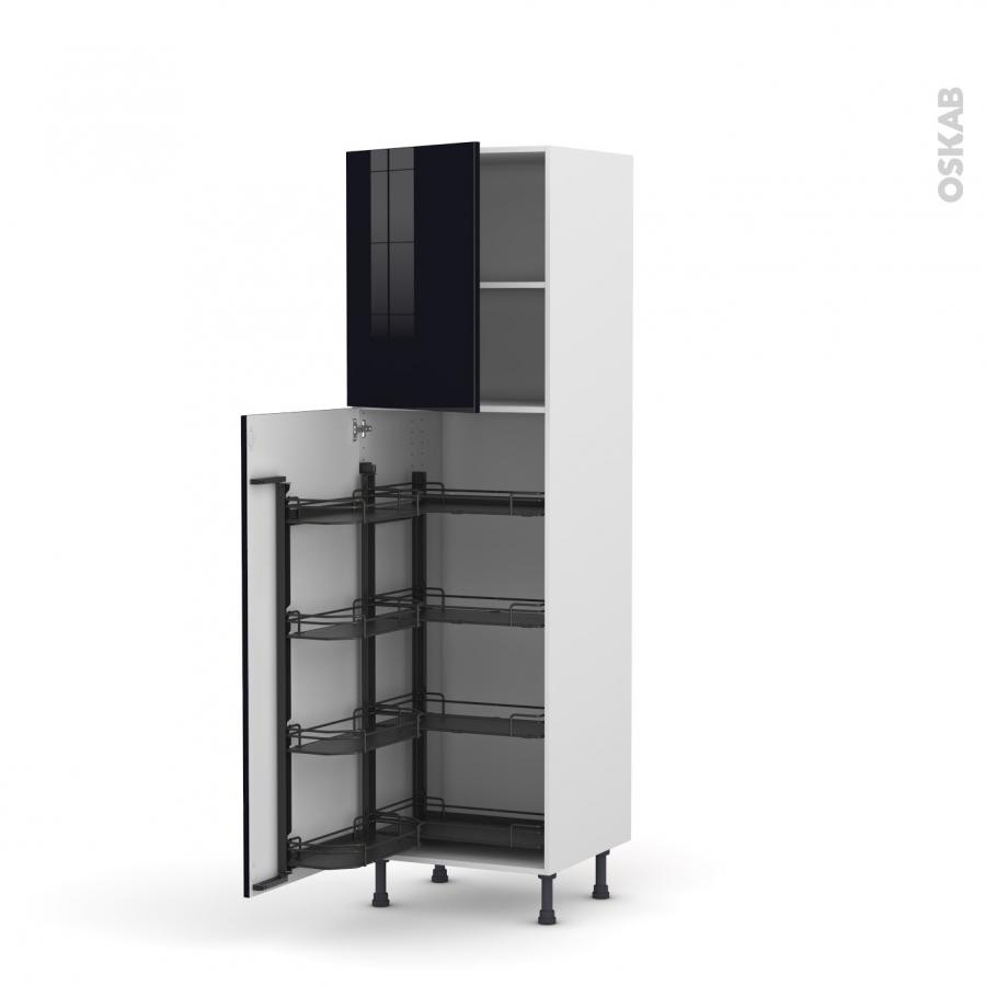 colonne de cuisine n 2127 armoire de rangement keria noir 8 paniers plateaux l60 x h195 x p58 cm. Black Bedroom Furniture Sets. Home Design Ideas