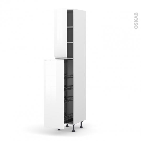 Colonne de cuisine n 2326 armoire de rangement ipoma blanc 4 paniers plateaux l40 x h217 x p58 for Colonne cuisine 40 cm