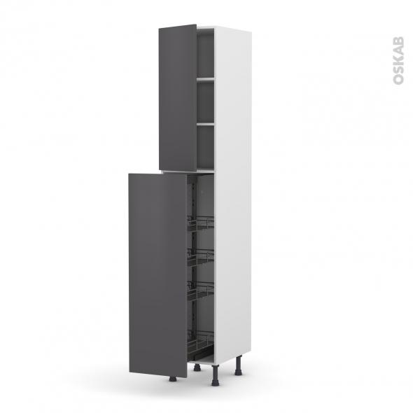 Colonne de cuisine n 2326 armoire de rangement ginko gris for Colonne cuisine 30 cm