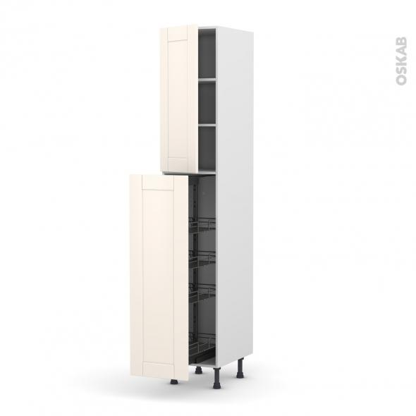 colonne de cuisine n 26 armoire de rangement filipen ivoire 4 paniers plateaux l40 x h217 x p58. Black Bedroom Furniture Sets. Home Design Ideas