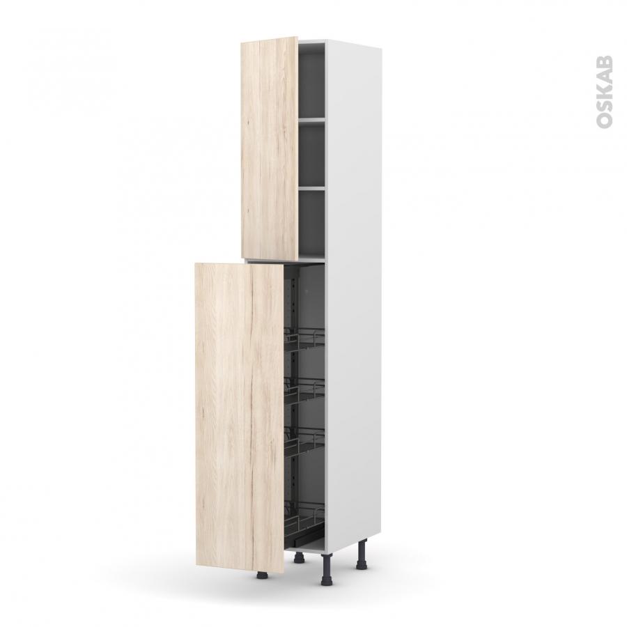 colonne de cuisine n 26 armoire de rangement ikoro ch ne clair 4 paniers plateaux l40 x h217 x. Black Bedroom Furniture Sets. Home Design Ideas
