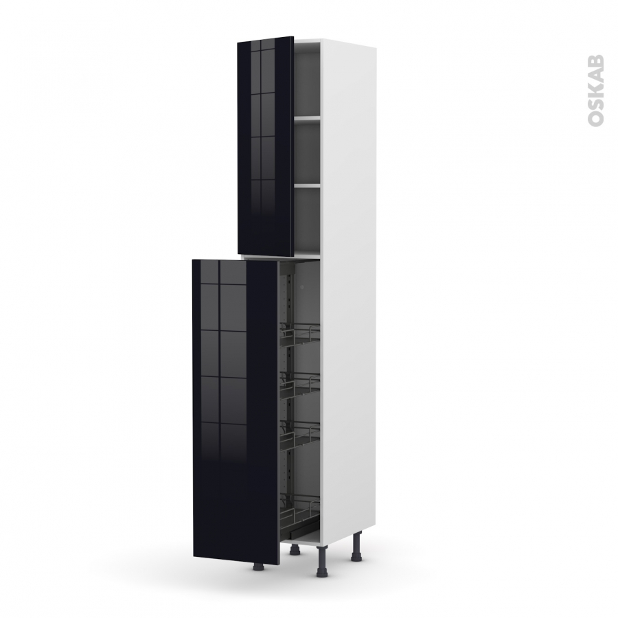 colonne de cuisine n 2326 armoire de rangement ginko noir. Black Bedroom Furniture Sets. Home Design Ideas