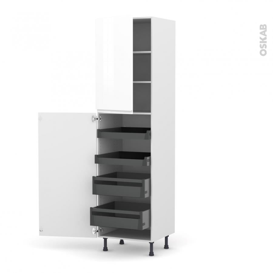 Colonne de cuisine n 2427 armoire de rangement ipoma blanc - Armoire de rangement cuisine ...