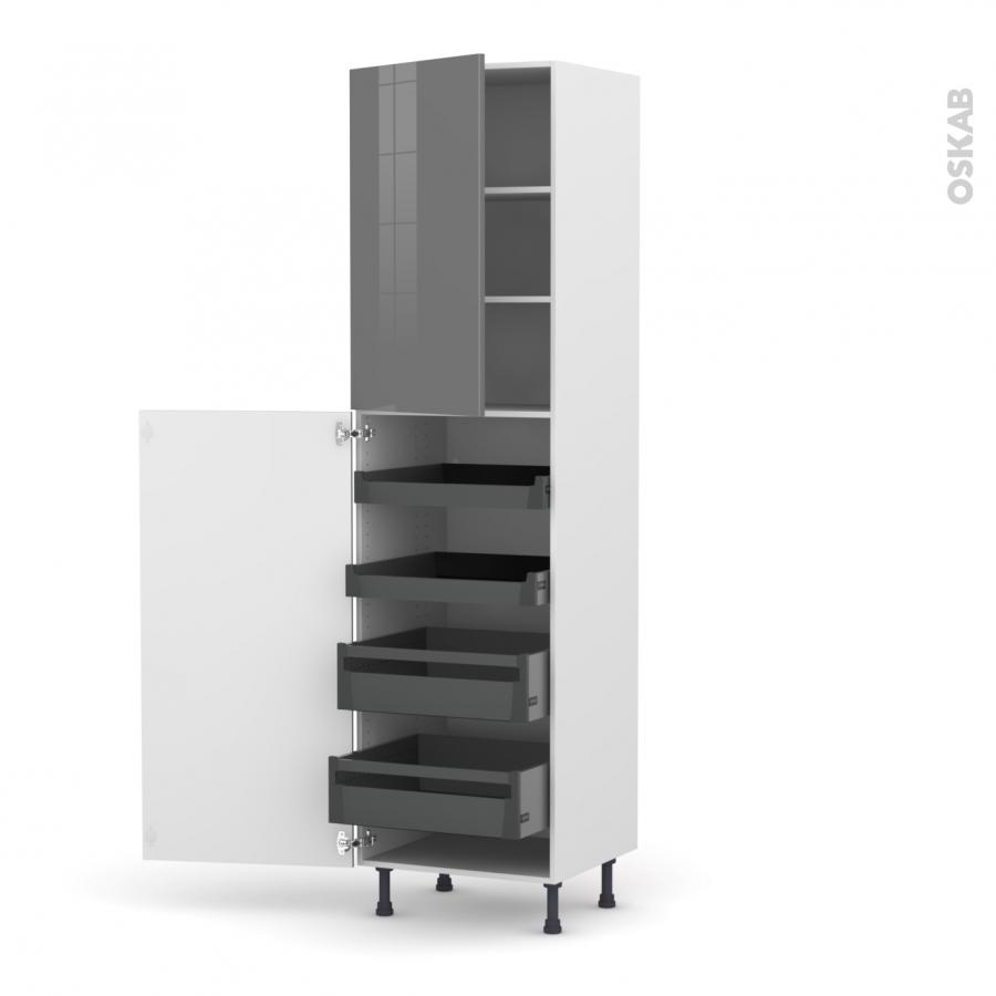 colonne de cuisine n 2427 armoire de rangement stecia gris 4 tiroirs l 39 anglaise l60 x h217 x. Black Bedroom Furniture Sets. Home Design Ideas