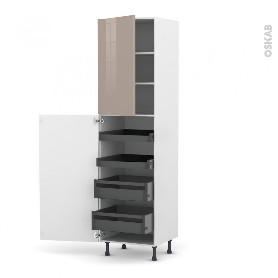 colonne de cuisine n 2427 armoire de rangement keria moka 4 tiroirs l 39 anglaise l60 x h217 x. Black Bedroom Furniture Sets. Home Design Ideas