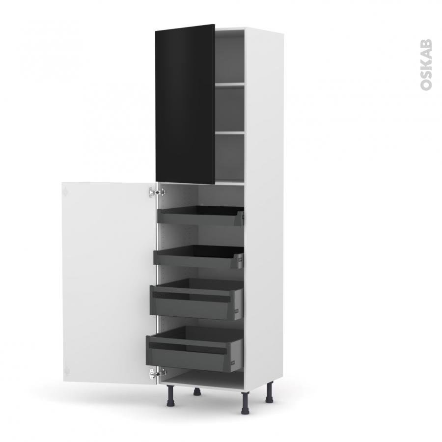 colonne de cuisine n 2427 armoire de rangement ginko noir 4 tiroirs l 39 anglaise l60 x h217 x. Black Bedroom Furniture Sets. Home Design Ideas