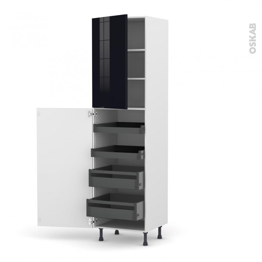 colonne de cuisine n 2427 armoire de rangement keria noir. Black Bedroom Furniture Sets. Home Design Ideas