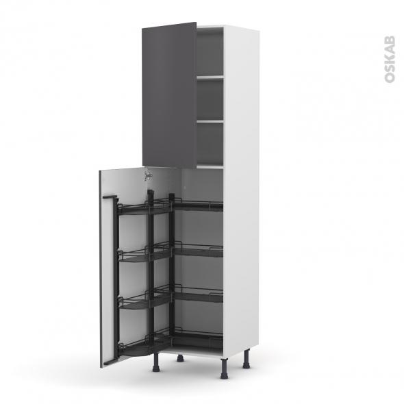 colonne de cuisine n 2427 armoire de rangement ginko gris 8 paniers plateaux l60 x h217 x p58 cm. Black Bedroom Furniture Sets. Home Design Ideas