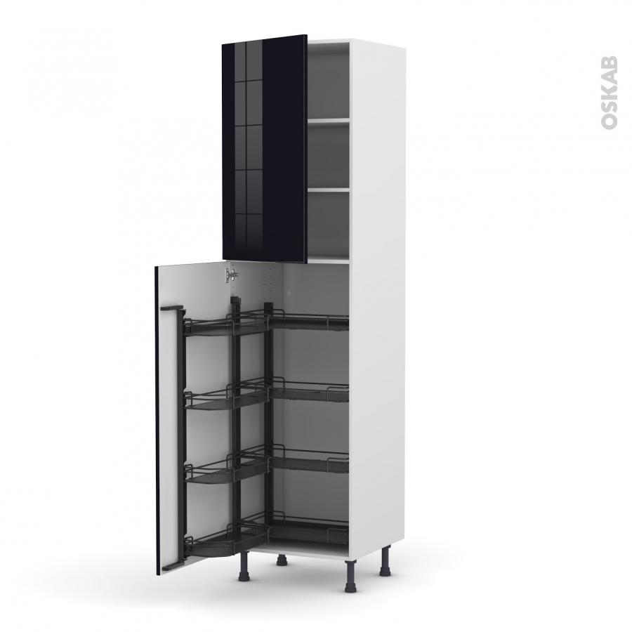 colonne de cuisine n 2427 armoire de rangement keria noir 8 paniers plateaux l60 x h217 x p58 cm. Black Bedroom Furniture Sets. Home Design Ideas