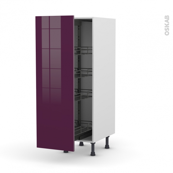 colonne de cuisine n 26 armoire de rangement keria aubergine 4 paniers plateaux l40 x h125 x p58. Black Bedroom Furniture Sets. Home Design Ideas