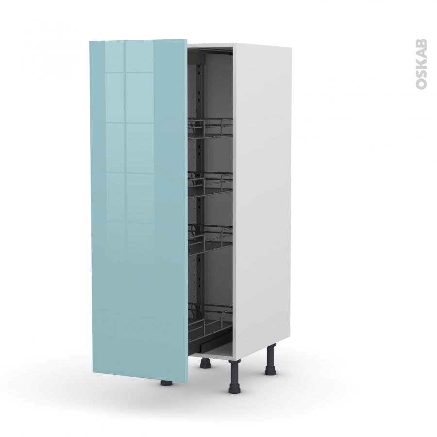 colonne de cuisine n 26 armoire de rangement keria bleu 4 paniers plateaux l40 x h125 x p58 cm. Black Bedroom Furniture Sets. Home Design Ideas