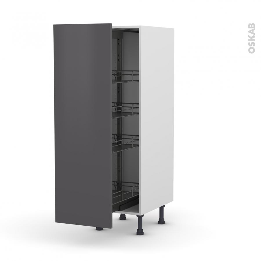 colonne de cuisine n 26 armoire de rangement ginko gris 4 paniers plateaux l40 x h125 x p58 cm. Black Bedroom Furniture Sets. Home Design Ideas