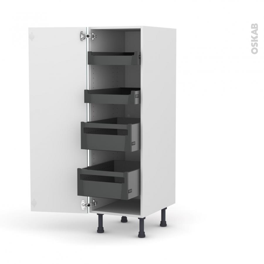 colonne de cuisine n 26 armoire de rangement keria bleu 4 tiroirs l 39 anglaise l40 x h125 x p58. Black Bedroom Furniture Sets. Home Design Ideas