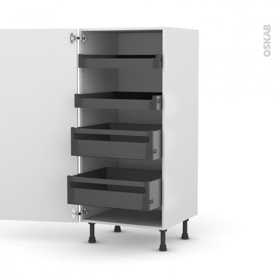 Colonne de cuisine n 27 armoire de rangement pima blanc 4 for Cuisine a l anglaise