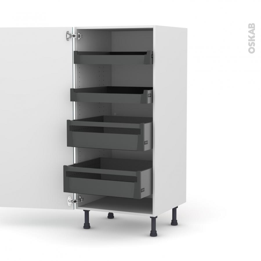 colonne de cuisine n 27 armoire de rangement keria bleu 4 tiroirs l 39 anglaise l60 x h125 x p58. Black Bedroom Furniture Sets. Home Design Ideas