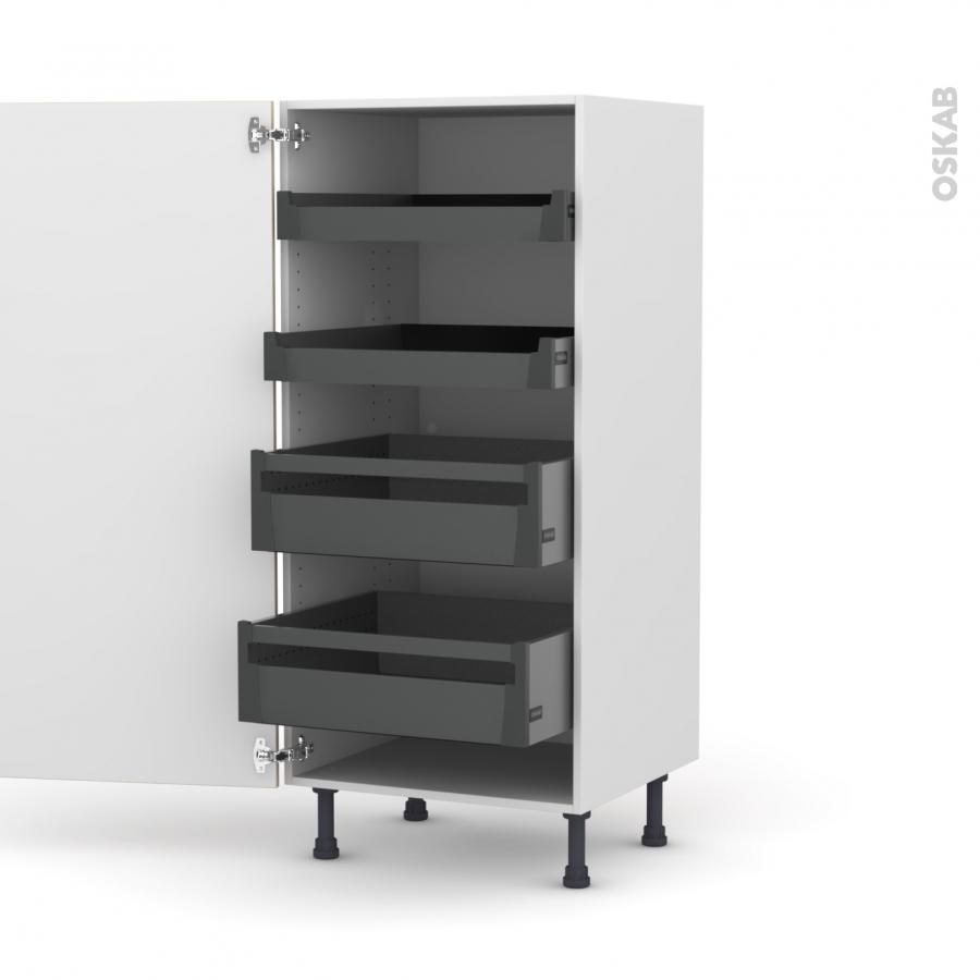 colonne de cuisine n 27 armoire de rangement ikoro ch ne clair 4 tiroirs l 39 anglaise l60 x h125. Black Bedroom Furniture Sets. Home Design Ideas