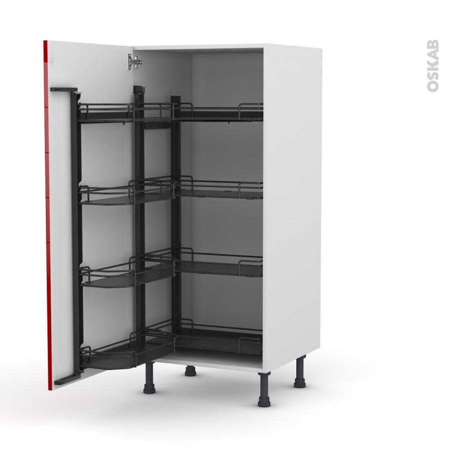 colonne de cuisine n 27 armoire de rangement stecia rouge 8 paniers plateaux l60 x h125 x p58 cm. Black Bedroom Furniture Sets. Home Design Ideas