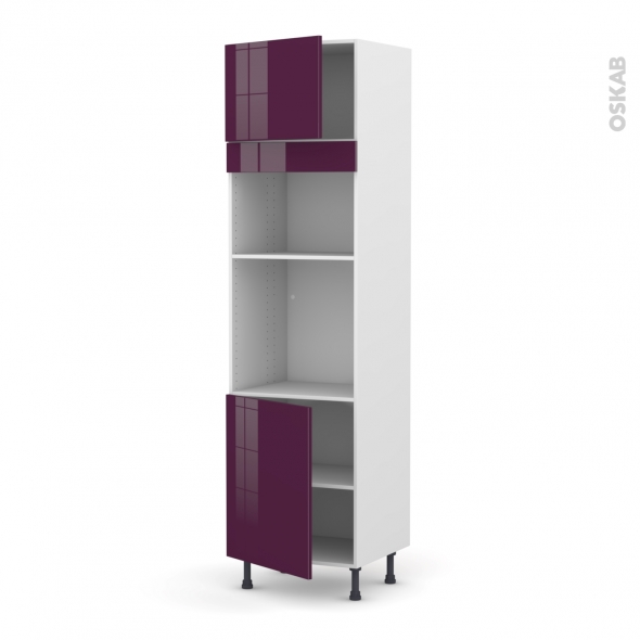 colonne de cuisine n 1321 four mo encastrable niche 36 38 keria aubergine 2 portes l60 x h217 x. Black Bedroom Furniture Sets. Home Design Ideas