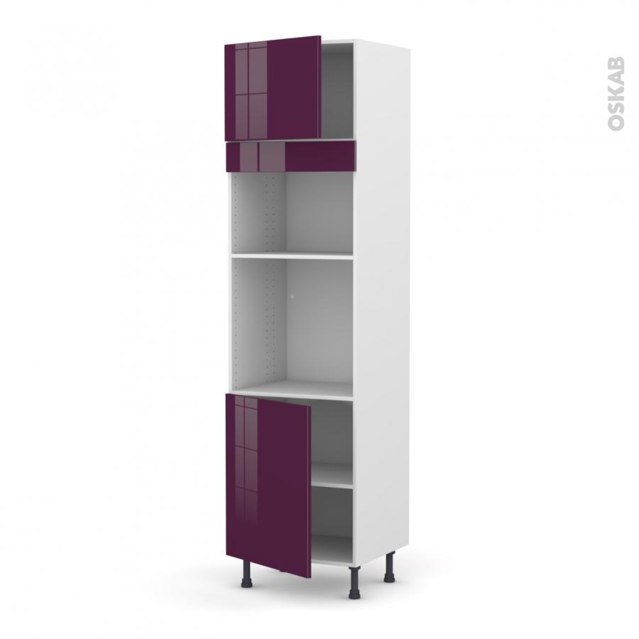 colonne de cuisine n 1321 four mo encastrable niche 36 38 keria aubergine 2 portes l60 x h217 x. Black Bedroom Furniture Sets. Home Design Ideas