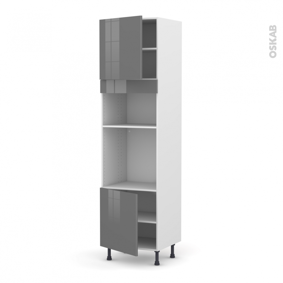 colonne de cuisine n 1616 four mo encastrable niche 36 38 stecia gris 2 portes l60 x h217 x p58. Black Bedroom Furniture Sets. Home Design Ideas