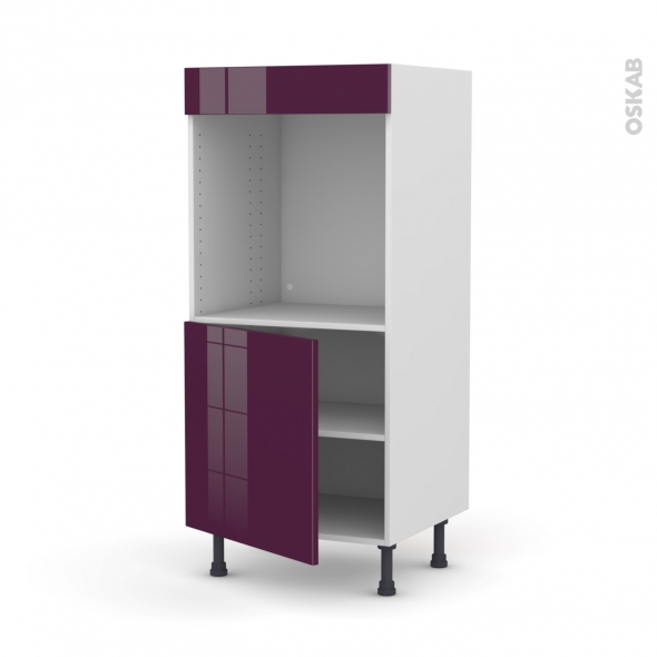 colonne de cuisine n 16 four encastrable niche 60 keria aubergine 1 porte l60 x h125 x p58 cm. Black Bedroom Furniture Sets. Home Design Ideas