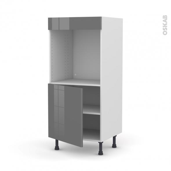 Colonne de cuisine n 16 four encastrable niche 60 stecia gris 1 porte l60 x h125 x p58 cm oskab for Comelement de cuisine pour four encastrable