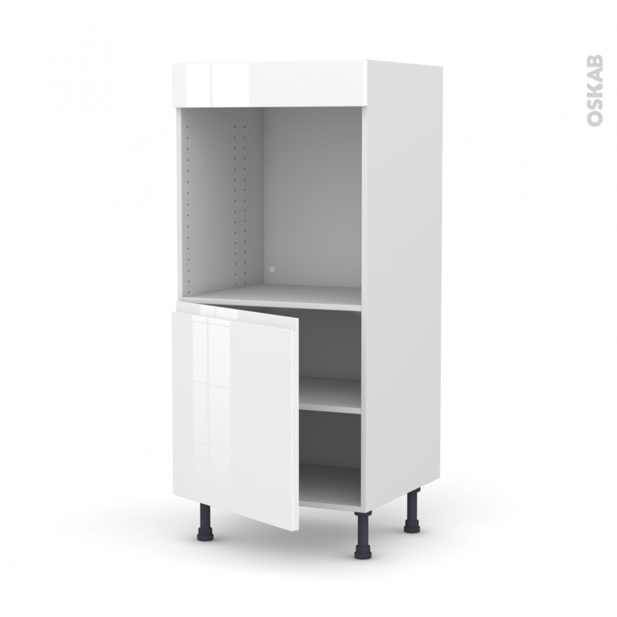 colonne de cuisine n 16 four encastrable niche 60 ipoma blanc brillant 1 porte l60 x h125 x p58. Black Bedroom Furniture Sets. Home Design Ideas