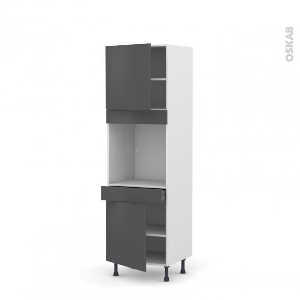 colonne de cuisine n 1616 four encastrable niche 60 ginko gris 2 portes 1 tiroir l60 x h195 x. Black Bedroom Furniture Sets. Home Design Ideas