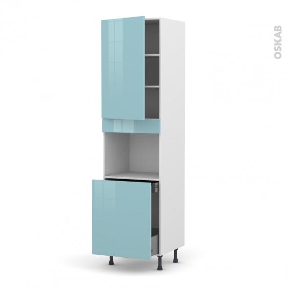Colonne de cuisine n 2416 four encastrable niche 60 keria bleu 1 porte 1 porte coulissante l60 x - Colonne de cuisine 60 cm ...