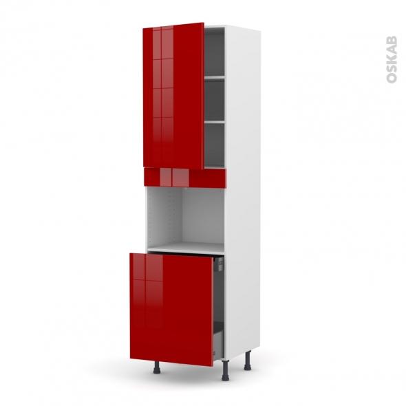 Colonne four n 2416 1 porte 1 porte coulissante l60xh217xp58 stecia rouge o - Porte coulissante rouge ...