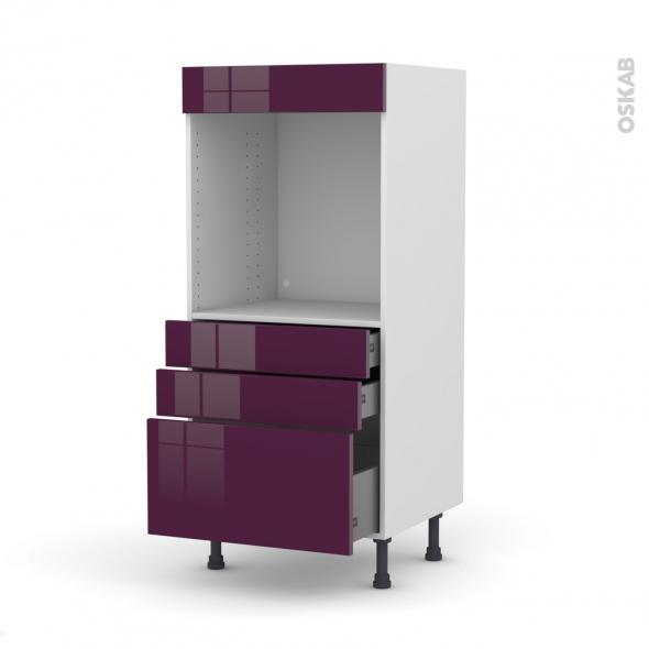 colonne de cuisine n 59 four encastrable niche 60 keria aubergine 3 tiroirs l60 x h125 x p58 cm. Black Bedroom Furniture Sets. Home Design Ideas