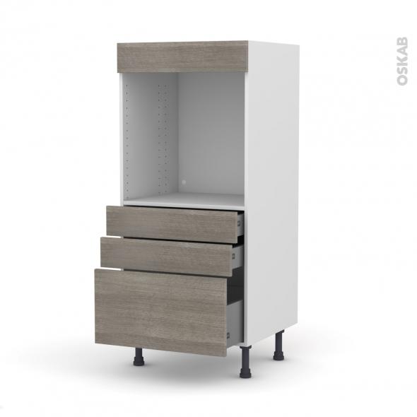 colonne de cuisine n 59 four encastrable niche 60 stilo noyer naturel 3 tiroirs l60 x h125 x p58. Black Bedroom Furniture Sets. Home Design Ideas