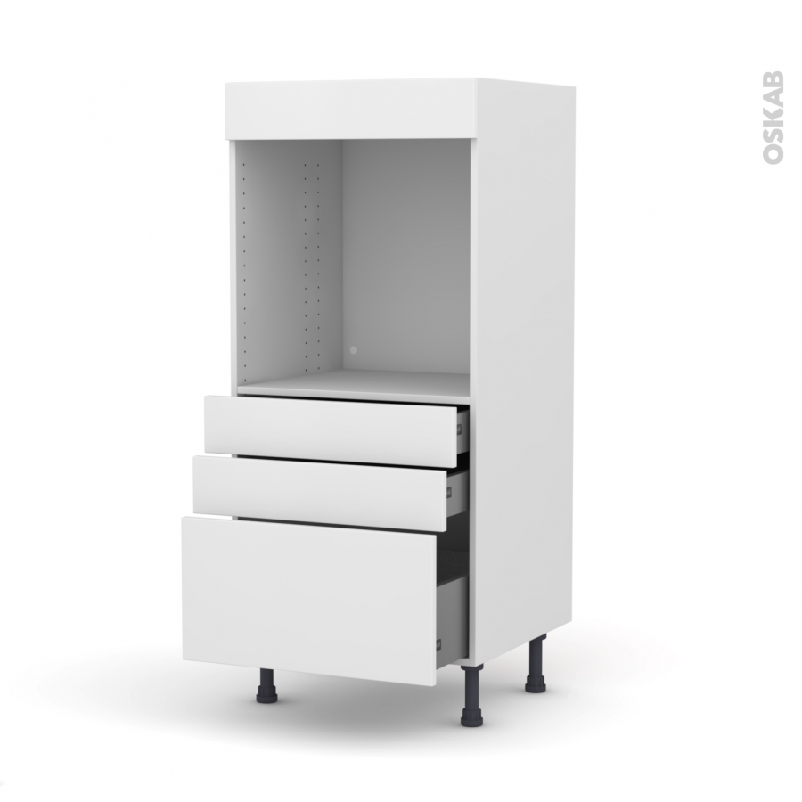 colonne de cuisine n 59 four encastrable niche 60 ginko blanc 3 tiroirs l60 x h125 x p58 cm oskab. Black Bedroom Furniture Sets. Home Design Ideas