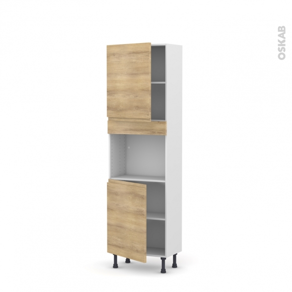 colonne de cuisine n 2121 four encastrable niche 45 ipoma ch ne naturel 2 portes l60 x h195 x. Black Bedroom Furniture Sets. Home Design Ideas