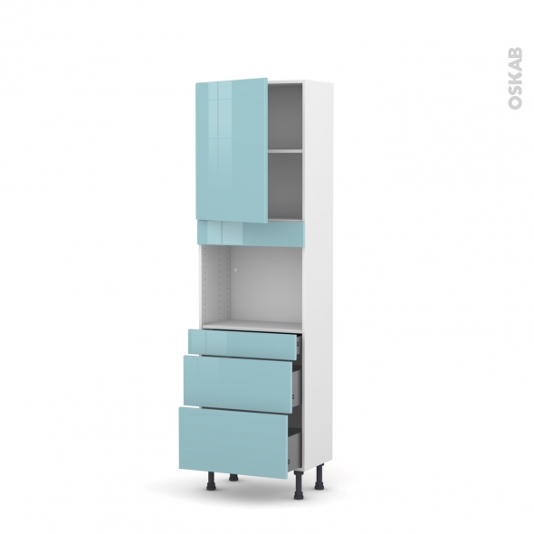 colonne de cuisine n 2158 four encastrable niche 45 keria bleu 1 porte 3 tiroirs l60 x h195 x. Black Bedroom Furniture Sets. Home Design Ideas
